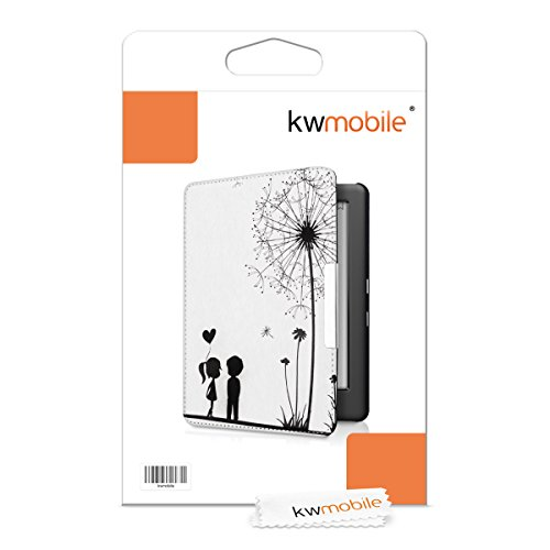 kwmobile Case for Kobo Glo HD (N437) / Touch 2.0 - Book Style PU Leather Protective e-Reader Cover Folio Case - black white by kwmobile (Image #6)