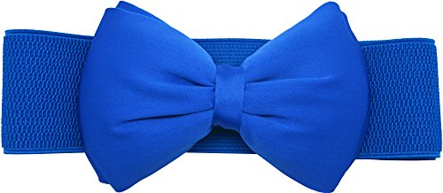 Meta-U Women Flower Elastic Wide Waist Belt (blue bow) from Meta-U