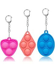 Mini Push Bubble Fidget Sensory Toys - Portable Simple Dimple Decompression Toys,Adult and Child Gift Keychain Push Sensory Toy That Relieves Stress 3 PCS