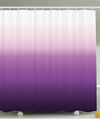 Purple Fabric Curtain (Purple Shower Curtain Home Decorations Art Bathroom Decor by Ambesonne, 70 Inches Long, Polyester Fabric Set with Hooks, Ombre Colorful Design White Purple)