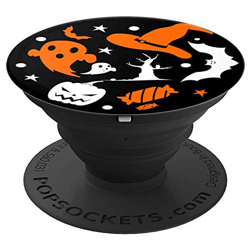 Funny Halloween Symbols Witch Ghosts Bats Candies Pumpkins - PopSockets Grip and Stand for Phones and Tablets -