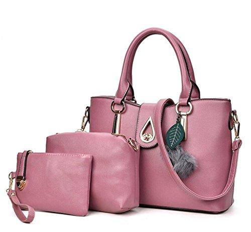 NVBAO 5 semplice pacchetto Master moda paste monospalla Signore bambino set borsa portatile pu tre pelle bean pezzi red colori portafoglio rXwxZrqYp