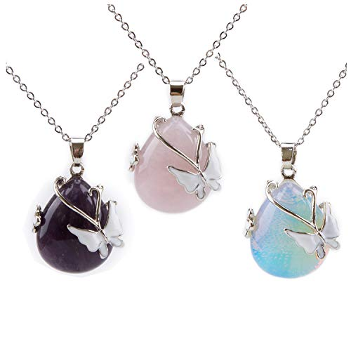 Bivei Vintage Wire Wrap Butterfly Gemstone Rose Quartz Amethyst Opalite Healing Crystal Pendant Necklace(Pack of 3)