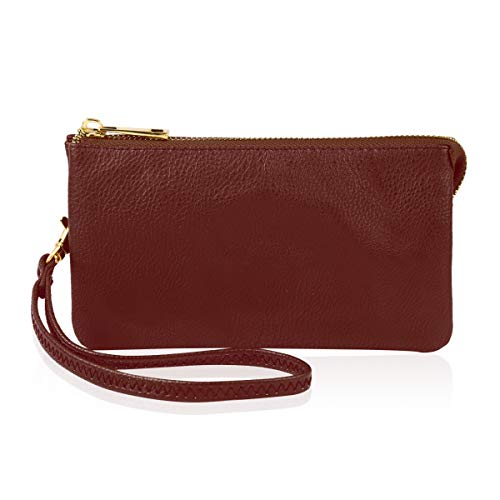 (Convertible Soft Faux Leather Wallet Purse Clutch - Small Handbag Phone/Card Slots & Detachable Wristlet Strap (Burgundy))
