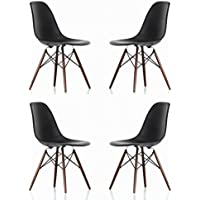 Ariel DSW Molded Black Plastic Shell Chair with Dark Oak Eiffel Legs Set of 4