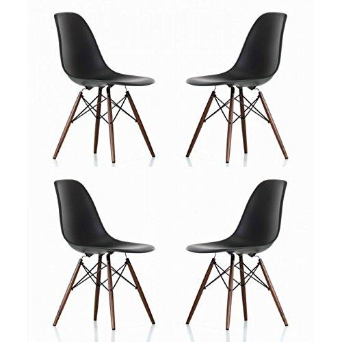Ariel DSW Molded Black Plastic Shell Chair with Dark Oak Eiffel Legs Set of 4 Review