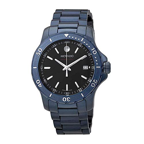 Movado Series 800 Black Dial Blue Ion-Plated Men's Watch 2600139
