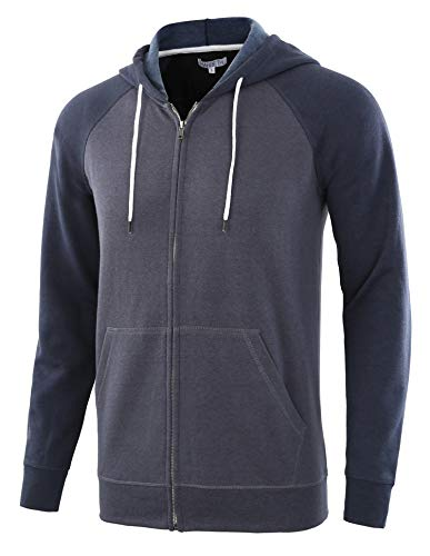 HARBETH Men's Athletic Fit Full Zip Fleece Hooded Sweatshirt Active Hoodie Cadet Blue/Navy XL