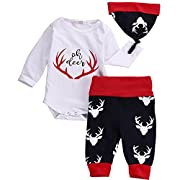 3PCS Set Newborn Baby Boys Girls Oh Deer Letter Romper and Deer Pants Outfit with Hat (6-9 Months, Red+ Black)
