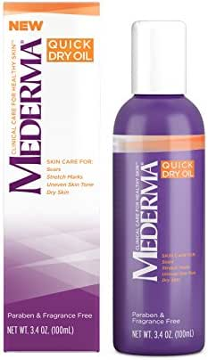 Mederma Quick Dry Oil - for scars, stretch marks, uneven skin tone and dry skin - #1 scar care brand - fragrance-free, paraben-free - 3.4 ounce