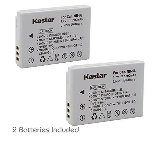 Kastar NB-5L Battery (2-Pack) for Canon PowerShot S100, S110, SD700, SD790, SD800, SD850, SD870 IS, SD880 IS, SD890 IS, SD900 IS, SD950 IS, SD970 IS, SD990 IS, SX200 IS, SX210 IS, SX220 IS, SX230 HS