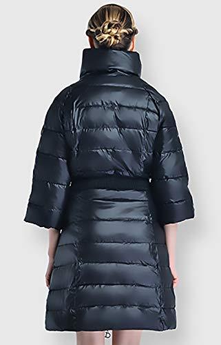 Giacca Lunghi 4 Tasche Eleganti 3 Slim Giubbino Piumino Cappotto Glamorous Autunno Fit Trapuntata Colori Solidi Con A Cerniera Semplice Manica Nero Invernali Chiusura Donna 16xnAx