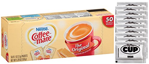 Coffee Mate - Original 3 Gram Single Serve Powdered Creamer Packets 50 Count Box (Pack of 1) - with Exclusive By The Cup Sugar Packets (Best Powdered Coffee Creamer)