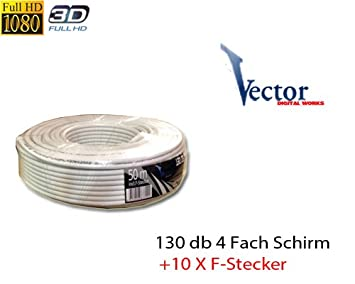 Vector RG6 Cobre Acero 50 m Cable coaxial SAT Cable Coaxial 130 dB 4 compartimento pantalla