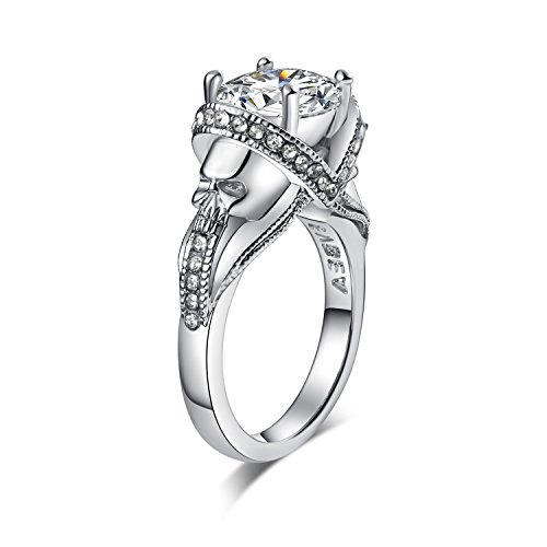 EVBEA CZ Skull Engagement Ring for Women Gothic Aphrodite Simulated Diamond Ring