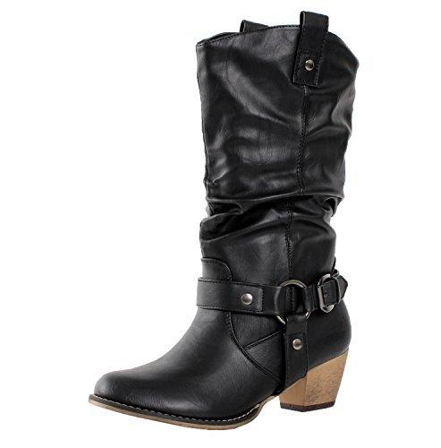 (Refresh Women Wild-02 Western Style Cowboy Boots, Premium Black, Size 10)