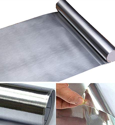 Brushed Silver Metallic Adhesive Paper Peel Stick Wallpaper Funitures Sticker Shelf Liner for Kitchen Dishwasher Oven Refrigerator,15.8inch by - Film Metallic