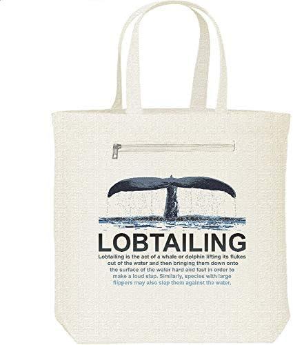 エムワイディエス(MYDS) LOBTAILING(クジラの尾びれ)/キャンバス トートバッグ・ファスナー ポケット付