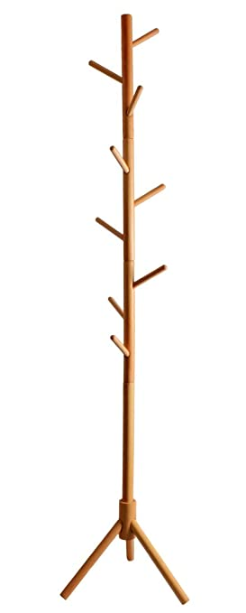 Easeurlife Solid Beech Wood Tree Coat Rack Free Standing with 9 Hooks for Hats, Scarves, Clothes Handbags (Natural-4)