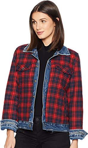 Blank Denim Women's Reversible Flannel Denim Jacket, American Pie, Blue, Plaid, Medium