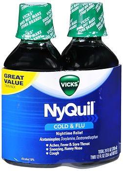 4 Flu Liquid - Vicks NyQuil Cold & Flu Nighttime Relief Liquid - 24 oz, Pack of 4