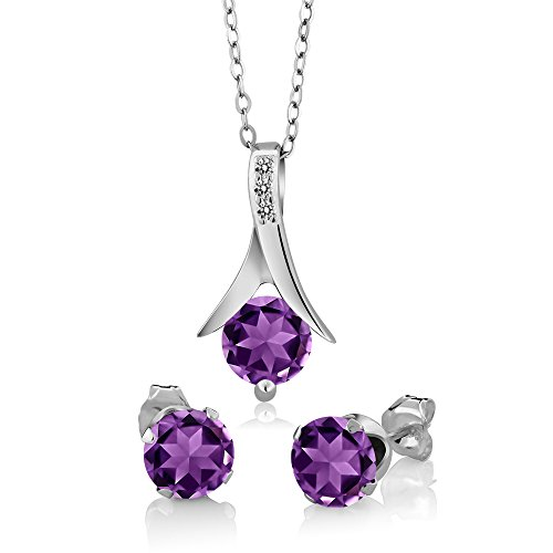 - 2.15 Ct Purple Amethyst White Diamond 925 Sterling Silver Pendant Earrings Set