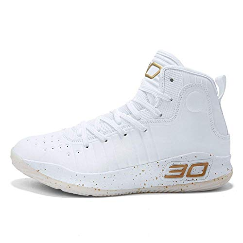 Myfarberry Womens Mens Fashion High-Top Cool Basketball Shoes Breathable Boys Sports Running Training Sneakers (38) White