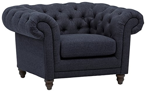 Stone & Beam Bradbury Chesterfield Oversized Tufted Accent Arm Chair, 50″W, Navy