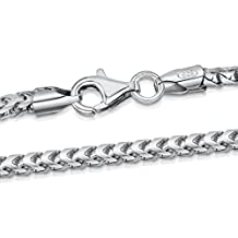 "Amberta 925 Sterling Silver Necklace for Men - Mechanic Franco Chain 2.5 mm - Sizes: 18"" 20"" 22"" 24"" 28"" in"