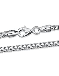 """Amberta 925 Sterling Silver Necklace for Men - Mechanic Franco Chain 2.5 mm - Sizes: 18"""" 20"""" 22"""" 24"""" 28"""" in"""