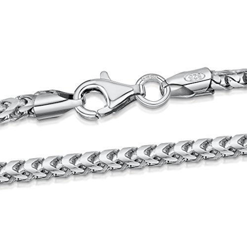 2.5 Mm Franco Chain (925 Sterling Silver Necklace for Men - Mechanic Franco Chain 2.5 mm Thick - Length 18