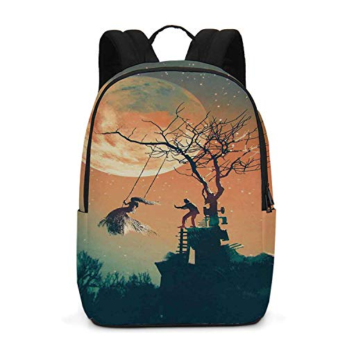 Fantasy World Durable Backpack,Spooky Night Zombie Bride and Groom Lady on Swing Under Starry Sky Full Moon for School Travel,One_Size