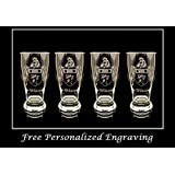 Wilson English Coat of Arms Pint Glass Set of 4 - Free Personalized Engraving and Free Shipping