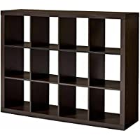 12-Cube Espresso Versatile Creates Multiple Storage Solutions Horizontal Or Vertical Display Organizer, Dimensions 58.39Lx15.35Wx44.57H