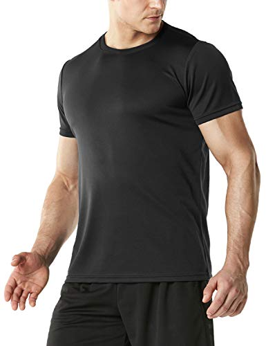 (TSLA Men's FlexDri Short Sleeve T-Shirt Athletic Cool Running Top, Athletic Crewneck(mts40) - Black, Large )