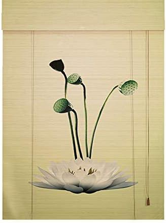 印刷された竹のカーテン木製の遮光窓ローラーブラインド、研究茶室カフェパーティションスクリーンカーテンブラインド、屋内屋外窓ドアロールアップのためのの天然竹カーテン