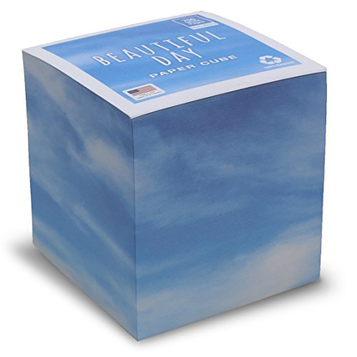 "Beautiful Day Note Cube with white pages NOT STICKY 3.5"" inch - Made in USA (paper US or CAN) - 100% Recycled 24 lb. bond - 700 tear-off pages NOT LOOSE"