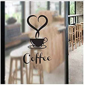 Buzdao Waterproof Wall Stickers Removable DIY Kitchen Decor Love Type Coffee Cup Decals Mug Glass Door Wall Sticker 2 Pcs