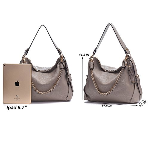 3 Tote Leather Shoulder Removable PU Handbag Purses DDDH Beige Handbag Pink Straps Top Women's With Hobo Ways Handle qSzRwIw