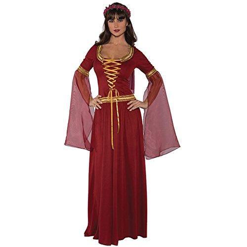 Underwraps Costumes Women's Renaissance Queen Costume - Maiden, Burgundy, (Medieval Times Halloween Costumes)