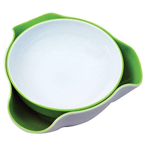 (Double Dish Pistachio Snack Serving Nut Bowl BPA Free Green and White)