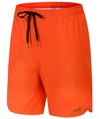 Gopune Mens Slim Fit Shorts Quick Dry Swim Trunks with Mesh Lining Male Bathing Suits (Orange,L)
