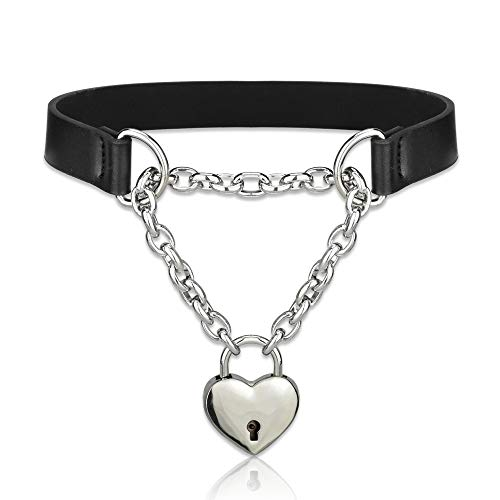 (Alona Magic Lover Heart Chain Choker Necklace and Heart Padlock Day Collar with Key, Black PU Leather Choker Collar for Women)