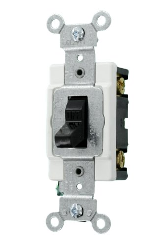 Amp, 120/277 Volt, Toggle Single-Pole Ac Quiet Switch, Commercial Grade, Grounding, Black ()