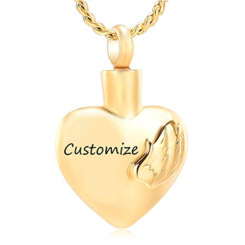 Imrsanl Cremation Jewelry for Ashes Pendant Wings Heart Urn Necklace for Women/Men Stainless Steel Memorial Urn Locket Keepsake Ashes Jewelry (Customize) ()