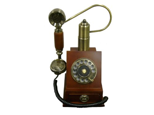 ORE International Classic Style Wood Cradle Telephone Handsfree Operation by ORE