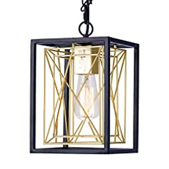 Farmhouse Ceiling Light Fixtures Pendant Lighting, UL Listed Cage Kitchen Light Fixtures Industrial Farmhouse Chandelier Black Gold Metal Hanging Lights… farmhouse ceiling light fixtures