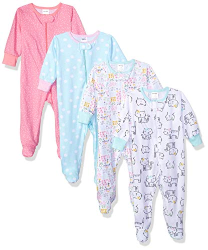 (Onesies Brand Baby Girls' 4-Pack Sleep 'N Play, Cats, 0-3 Months )