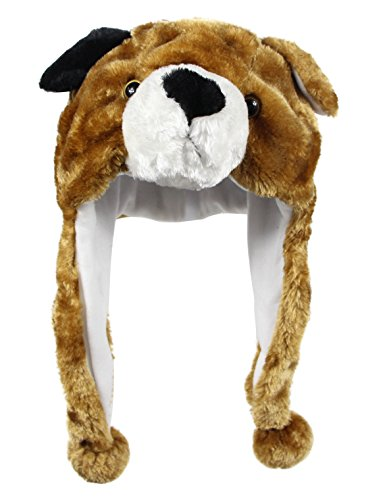 Bioterti Plush Fun Animal Hats –One Size Cap - 100% Polyester With Fleece Lining (Brown Dog) - Children's Dog Costume