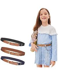 3Pcs AWAYTR Toddler Belts for Boys - Elastic Adjustable Belt with Brown Leather Loop (Navy blue/Brown/Black, Pant Size: 20